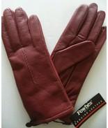 Ladies {Fownes} Leather Gloves*,Large, Burgundy - $23.75