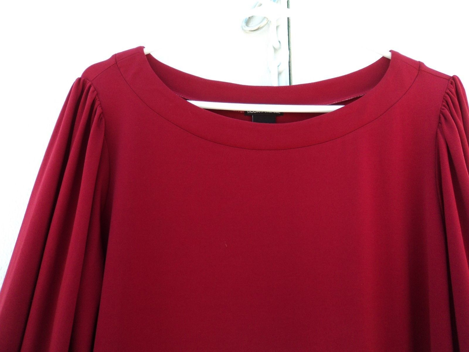 Moda International Blouson Dress Red Polyester Spandex Female L Solid