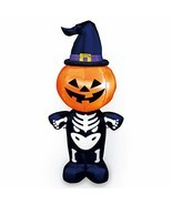 Joiedomi Halloween Inflatable Blow Up Pumpkin Skeleton with a Witch Hat ... - £26.84 GBP