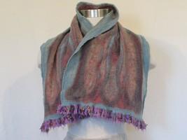 Unbranded Handmade Artsy Scarf Blue Pink Beige - $14.50