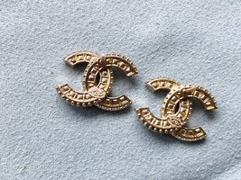 SALE* AUTHENTIC CHANEL XL LARGE CRYSTAL CC LOGO STUD GOLD EARRINGS  image 10