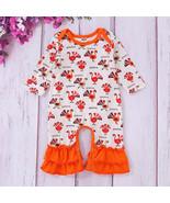 NWT Thanksgiving Turkey Baby Girl Orange Long Sleeve Ruffle Romper Jumpsuit - $10.99