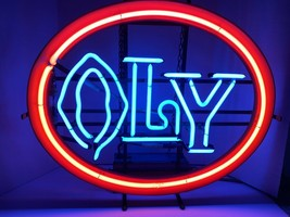 RARE VINTAGE OLYMPIA NEON LIGHTED BEER SIGN BAR LIGHT OLY ORANGE - $187.00