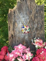 Jewel Tone Crystal Accented Wreath Pin/Sweater Necklace - $19.99