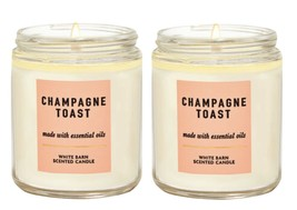 2 Bath & Body Works CHAMPAGNE TOAST Medium Scented Single Wick Candle 7 oz - $23.05
