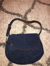 Lucky Brand Blue Suede Stash Flap Hobo Slouch Shoulder Purse Bag Boho -   59.99 df44fc595c84a