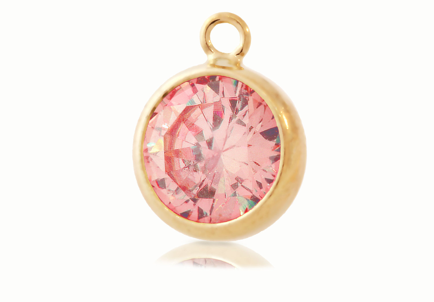 Primary image for Bezel Drop, Pink CZ, 14Kt Gold Filled, 6mm, Pkg Of 1pc (5589)/1