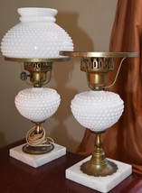 2 VINTAGE LAMPS MILK GLASS HOBNAIL HURRICANE STONE MARBLE BASE BRASS ACC... - $119.99