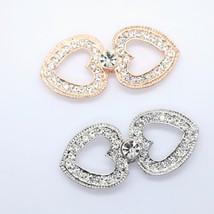 Gold Silver Heart Crystal Rhinestone Buckle Closure Hook and Eye Clasp DIY - $10.99