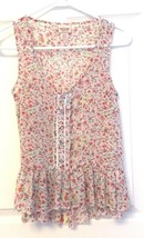 Sleeveless Summer Top Tank Gauzy Summer Pink Floral Boho Hippie Size XS ... - $9.90