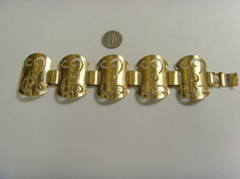 1960s vintage impressive gold tone metal chatline wide bracelet Sarah co... - $23.51