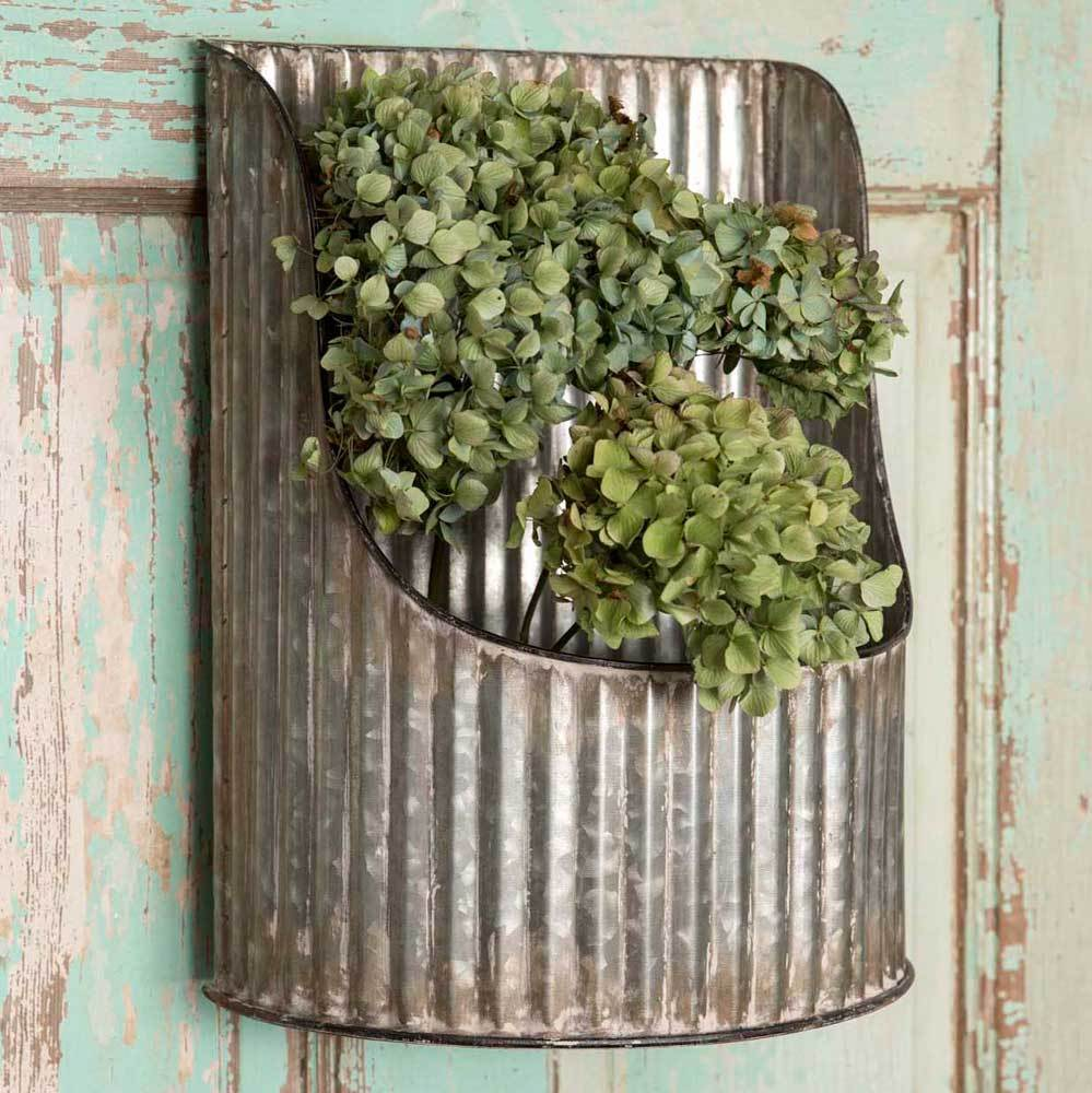 Country Decor Corrugated Rounded Wall Shelves Shelf Bin Pocket Rustic Farmhouse
