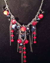 New Cookie Lee Necklace w/ Red and Purple Faceted Crystals & Chains - $12.69