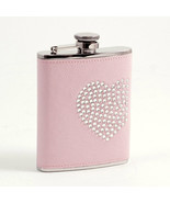 """Bey Berk Pink Stainless Steel Flask with Reign Stone """"Heart"""" Design - $43.95"""