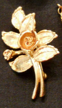 Avon Burnished Rose Pin Floral Leaf Figural Brooch Rose Gold Plated ✿ VT... - $19.76