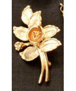 Avon Burnished Rose Pin Floral Leaf Figural Brooch Rose Gold Plated ✿ VT... - $19.76