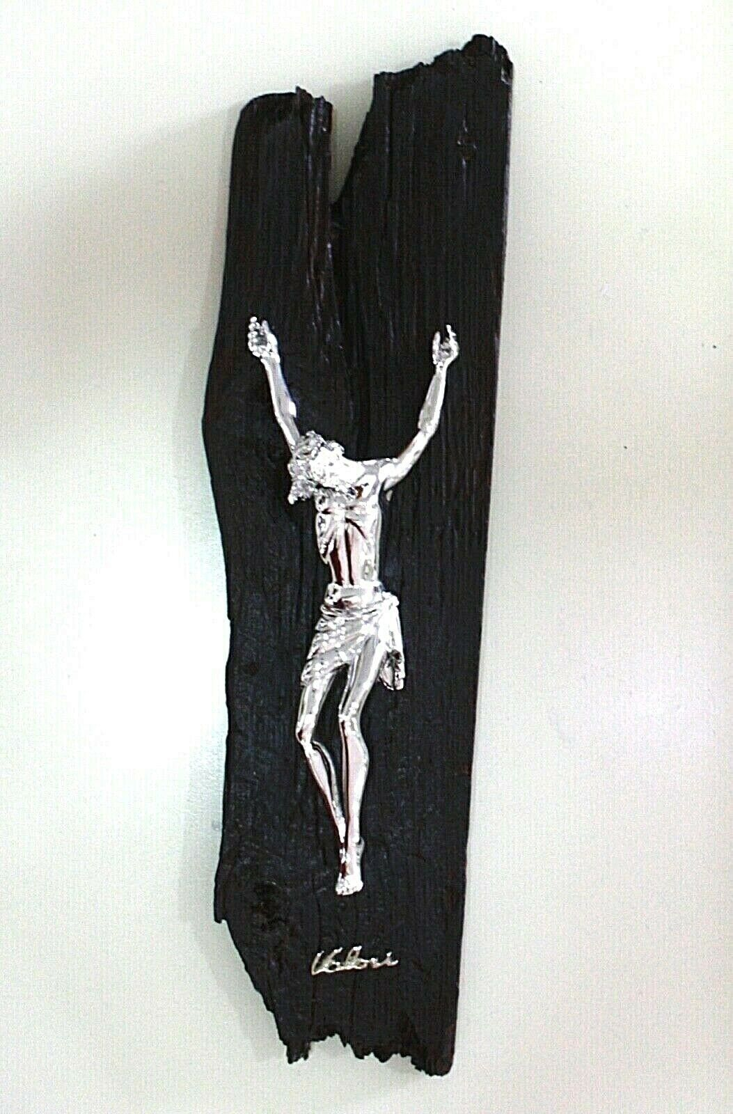 STYLIZED WALL CRUCIFIX, BLACK PAINTED WOOD BEAM, CHRIST, 16.5 INCHES ITALY MADE