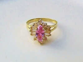 14K 14KT Solid Yellow Gold Pink ICE CZ Cubic Zirconia QVC Diamonique Siz... - $148.50