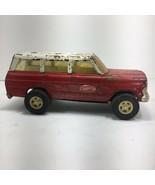 Vintage Pressed Steel Red Tonka Jeep Wagoneer with White Top Restoration... - $24.72