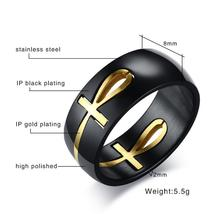Egyptian Cross Ring Men Personalized Stainless Steel - $16.99