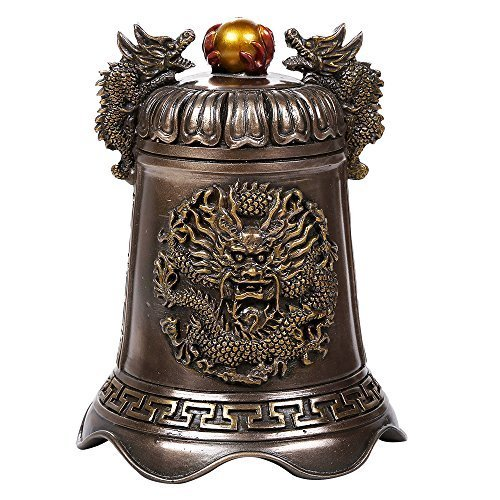 Primary image for Pacific Giftware Oriental Fengshui Dragon Holding Orb Cast Bronze Bell Shaped Au
