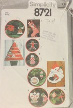 Vintage Simplicity 8721 Pattern Christmas Ornaments, Stocking, Card Hold... - $4.94