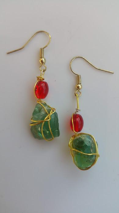 Festive Shores 2: Green Estonian sea glass, golden wirework, red beads, earrings