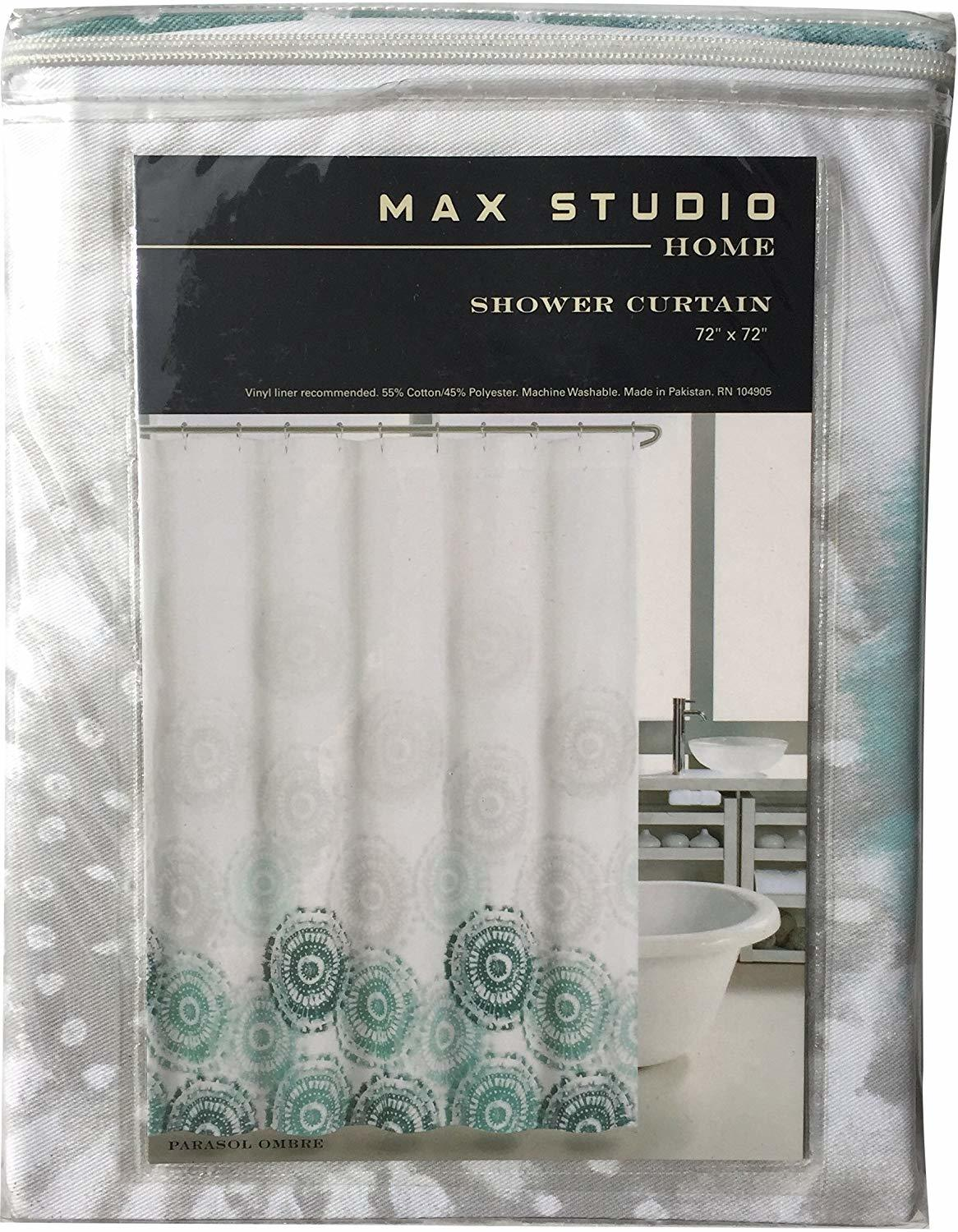 Max Studio Parasol Ombre Teal/Gray on White Shower Curtain