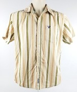 Mens American Eagle Outfitters Striped Button Front Embroidered Medium S... - $19.26