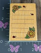 StampCraft Rubber Stamp Flower Corner Floral Note Lines Ruled #N155 - $5.45
