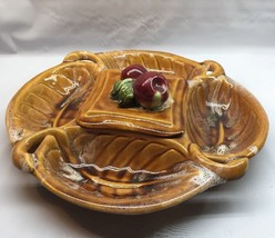 Wade California Pottery Relish Snack Tray Ceramic Yellow Browns Large W/... - $8.90