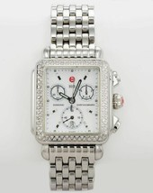Ladies Michele deco chronograph wristwatch in stainless steel with diamond bezel - $1,295.00