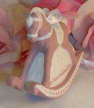 New Wedgwood Pink Jaspeware Baby 1ST First Christmas Rocking Horse Ornament 2016 image 5