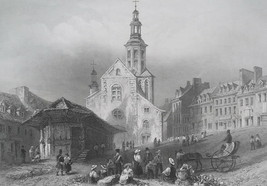 CANADA Quebec City Main Market Square - 1840s Engraving Print by BARTLETT - $15.44