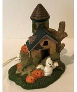 Halloween Vintage Ceramic Haunted House Light Up Decor 3 Bulbs Hand Pain... - $89.99