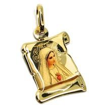 Colgante Medalla de Oro Amarillo 750 18K, María Sagrada Corazón Pergamin... - $151.60