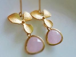 Gold Orchid Earrings Pink Glass Gem Earrings Light Opal Pink Earrings Or... - $34.00