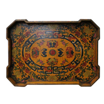 Chinese Yellow Lacquer Color Bats Floral Graphic Painting Tray cs4200 - $395.00
