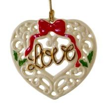 Lenox 'Love' Pierced Porcelain Christmas Ornament  LOVE NEW - $8.59