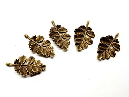 Oak Leaf Charms Double Hole Connector Charms x 5 Bronzed Jewellery Finding - $4.99