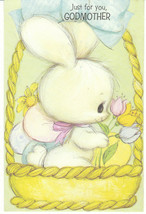 Vintage Easter Card Bunny Rabbit in Basket Eggs American Greetings Godmo... - $4.94
