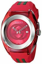 Latest Gucci Sync XXL Red Rubber Red Dial Watch YA137103 - $224.00