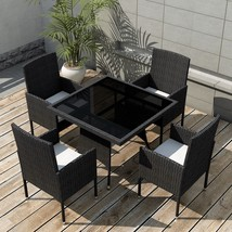 Rattan Dining Table and Chairs Set Outdoor Patio Wicker Bistro Furniture... - €340,32 EUR