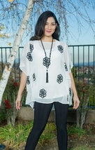 "Cover Charge Embroidered Ivory & Black Chiffon ""Summer Dream"" Top - NOW ... - $47.90"
