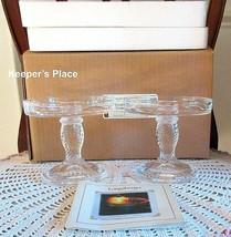 Set Of 2 Longaberger Glass Pedestal Candle Holders Clear Basket Weave Ne... - $29.00
