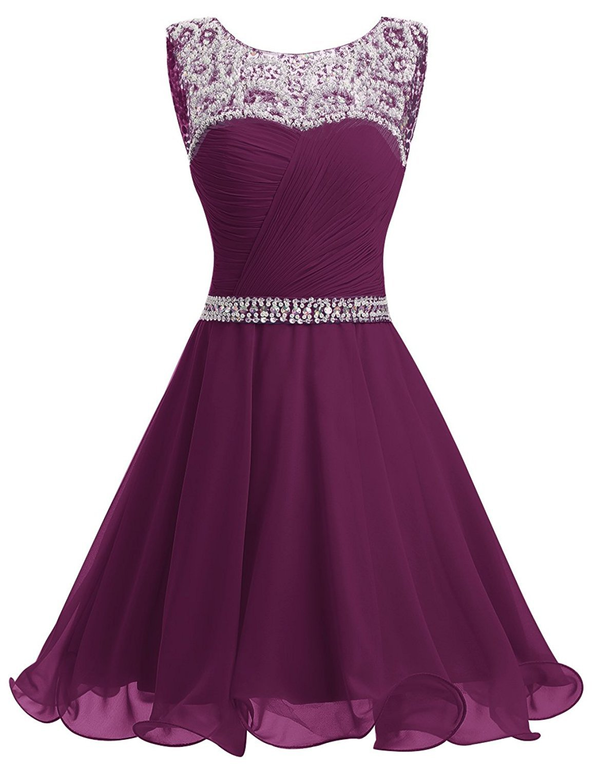 Primary image for Short Grape Homecoming Dresses Ruched Chiffon Prom Gown Party Dress with Beads