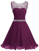 Short Grape Homecoming Dresses Ruched Chiffon Prom Gown Party Dress with... - $126.00