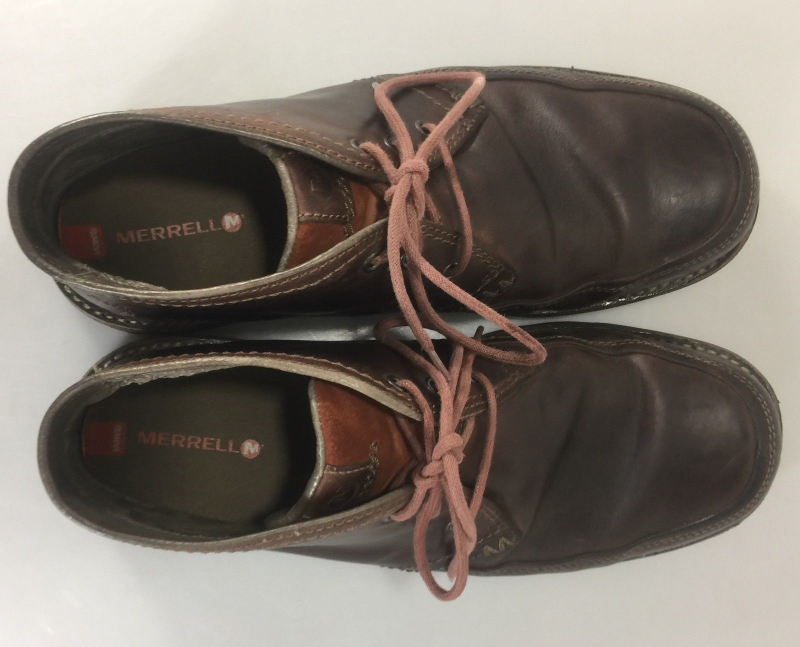 Merrell Men Chukka Boots Shoes Size 11 Cinnamon Brown Leather Lace Up Casual