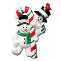 Candycane Snowman Family of 2  Christmas Ornament Gift Present Engagemen... - $9.88