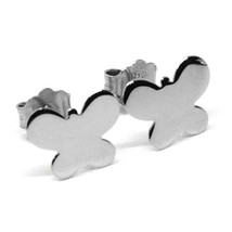 SOLID 18K WHITE GOLD EARRINGS FLAT BUTTERFLY, SHINY, SMOOTH, 8x10 MM image 2